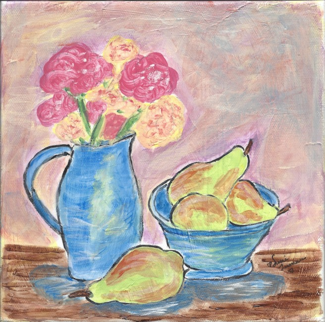 flowers in a pitcher and pears