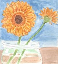 Watercolor class flower