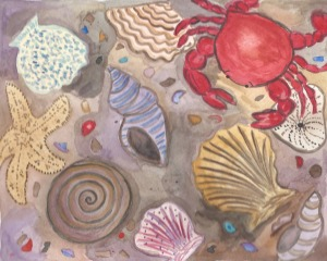 Summer Camp Day One Watercolor Crab -Assignment one-2