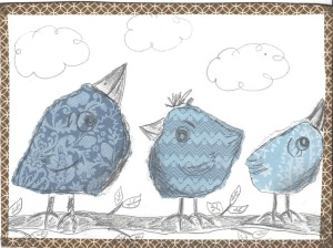 Scanned birds blue