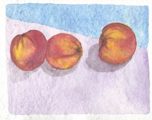 Summer camp peaches on yupo paper