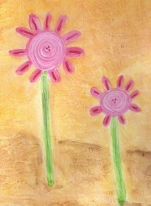 pink gesso flowers