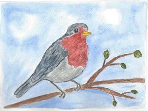 Winter watercolors robin cropped