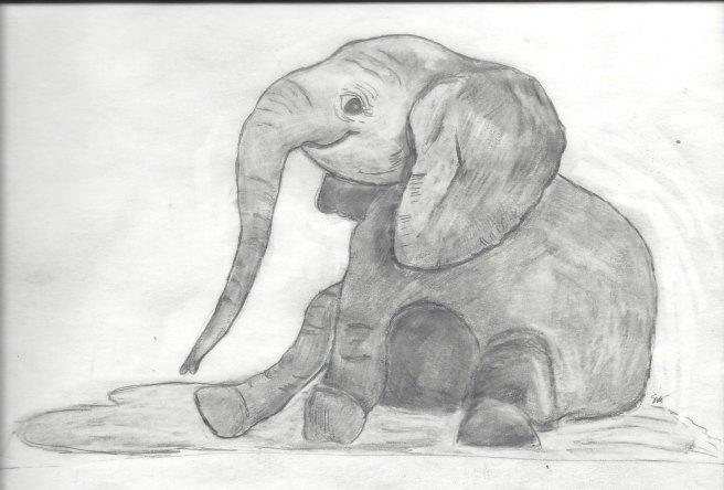 Eraser elephant sitting