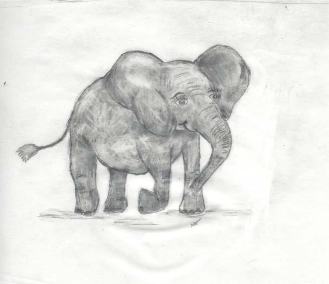 Eraser elephant standing